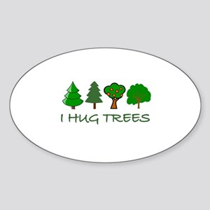 I Hug Trees Oval Sticker